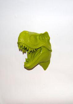 The Mason | T Rex Head | Faux Taxidermy | Mantis Green Resin