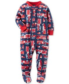 49a30bf5a5 Carter s 1-Pc. Firetruck-Print Footed Pajamas