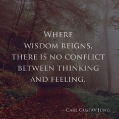 Where wisdom reigns, there is no conflict between thinking and feeling. — Carl Gustav Jung