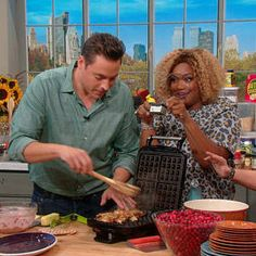 Jeff Mauro's Stuffing Waffles with Cranberry Sauce on Rachael Ray Show. Thanksgiving Leftover Recipes, Holiday Recipes, Thanksgiving Leftovers, Turkey Leftovers, Thanksgiving Food, Holiday Foods, Holiday Ideas, Food Network Recipes, Cooking Recipes