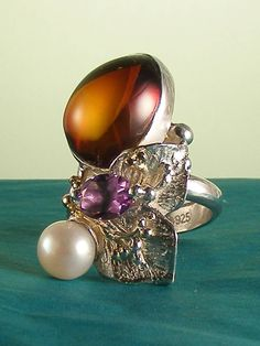 серебро, 18-каратное золото, янтарь, аметист, жемчуг, Григорий Пыра Пиро регулируемый размер кольца 9674