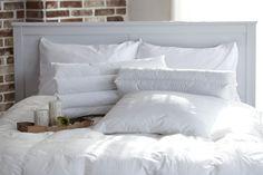 White headboard against brick wall with all white bedding: white pillows, white duvet cover, white comforter Furniture Decor, Bedroom Furniture, Bedroom Decor, Bedroom Chest, Cozy Bedroom, Bedroom Ideas, Master Bedroom, Best Mattress, Foam Mattress