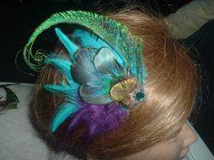 Turquoise and Purple Hair Clip with Peacock Feathers | eBay
