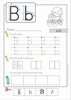 Phonics Letter of the Week Bb {FREE}. A HUGE unit (81 pages) with all that you need for a letter of the week curriculum. A page from the unit: Handwriting practice and font discrimination cut and paste
