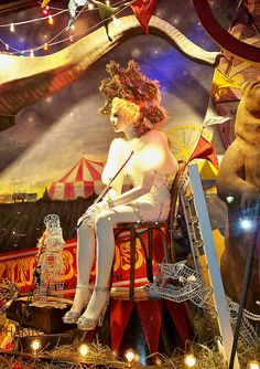 A Bergdorf Goodman window display inspired by Water for Elephants, taken at nigh
