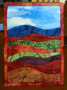 Batik Landscape Mini Art Quilt 5 x 7 by LyndiArt on Etsy, $15.00