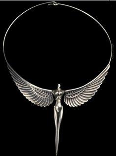 Necklace | Paul Wunderlich. 'Nike ~ La Victorie'.  Solid silver.  ca. 1977