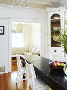 Wood table + neutral palette via covet garden