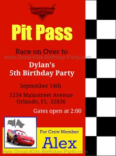 Disney Cars Birthday Party Invitation Ideas