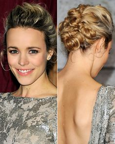 Rachel McAdams's Twisty Updo  KEY TIP An intricate style like McAdams's can be easily achieved by sectioning hair off, starting at the bottom, then twisting upwards and securing hair as you go. This makes placement of each piece easier from every angle.