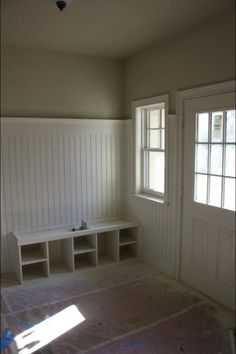 beadboard 3/4 of the way up the wall + wide moulding in mudroom = smarth because then you can hang coats on hooks from it