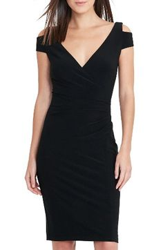 Free shipping and returns on Lauren Ralph Lauren Cold Shoulder Sheath Dress (Regular & Petite) at Nordstrom.com. Cutout shoulders update a modern LBD in a body-skimming silhouette that makes an easy and elegant choice for any occasion.