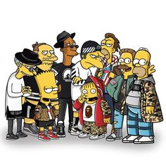 Whole Simpsons x streetwear crew together so far! This weeks been mad, going to drop the last character in the next few days! #simpsons #streetwear #supreme #illustration #graphicdesign #graphics #givenchy #hba #hoodbyair #hypebeast #stussy #pigalle #bape #ootd #vector #rickowens #nike #yeezyboost