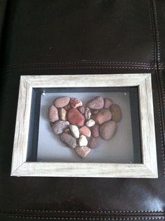 Lake Michigan beach rocks arranged in heart shape tacked inside shadow box on Etsy, $17.00
