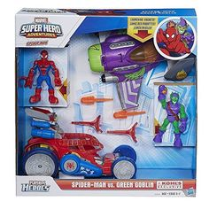 Little web-slingers are going to go crazy for Playskool Heroes Marvel Super Hero Adventures Spider Man Vs. Green Goblin Set By Hasbro. Featuring a 2-in1 web sling car and a Green Goblin plane this bo...