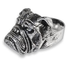 Anello in Argento 925 Sterling Silver Con Bulldog di GemsElements