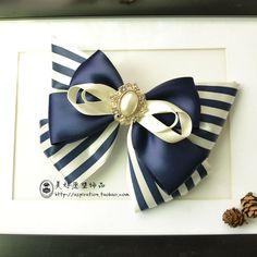 美好愿望 高端独家蓝色大条纹手工蝴蝶结发夹超大发饰头饰-淘宝网