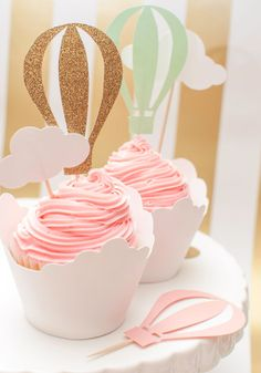 Up Up And Away Hot Air Balloon Cupcake Toppers in Pink Mint and Gold set of 12
