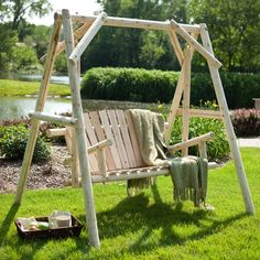 Coral Coast Rustic Natural Log Curved Back Porch Swing and A-Frame Set - XL609S-N