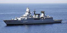The German navy air defense frigate FGS Hessen (F221)