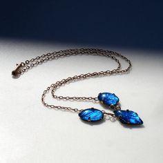 Edwardian/Art Deco Gold Blue Morpho Butterfly Wing Necklace via Etsy