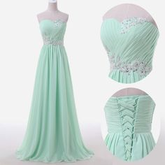 Sweetheart Sky Blue Mint Chiffon Prom Dresses Lace Beading Sweep Train Lace-up Back Bridesmaid Dresses_Buy High Quality Dresses from Dress Factory - Babyonlinedress.com