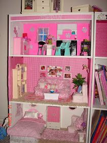 A girl and a glue gun: DIY Barbie House from a shelf. So many tutorials on how to build a doll house and the furniture etc. Will help those out that are beginners or for those whom want to do it by hand instead of the plastic barbie houses or give you some ideas for a room etc. Good luck. Hope this helps out.