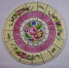 8 1/4 China Mosaic Tile Set SHABBY PINK ROSE FLORALS by AnnsMixNMatchMosaics