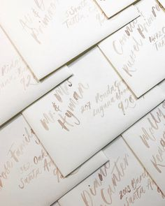 Watercolour brush calligraphy envelopes are so much fun to create and really give a bold statement. I used a soft taupe watercolour hue and played with the lights and darks to create an elegant and soft touch. Love the fun layout too! Wedding Calligraphy Styles, Calligraphy Wedding Place Cards, Calligraphy Welcome, Calligraphy Save The Dates, Calligraphy Envelope, Beautiful Calligraphy, Wedding Cards, Handmade Invitations, Personalized Wedding