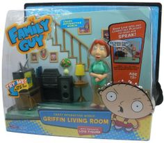 Family Guy - Griffin Living Room Playset by Playmates Toys. $34.99. Includes 3 AA Batteries. Includes exclusive Lois figure, available nowhere else!. Snap Figure into playset to hear Real TV Character Voices! Includes over 40 phrases!. Works with these Interactive Figures: * Stewie * Peter * Brian * Cleveland * Quagmire * Halloween Stewie * Lois and many more coming soon!. COLLECT ALL THE CRAZY INTERACTIVE WORLD FIGURES!. Experience the adventures of lovable oaf PETE...