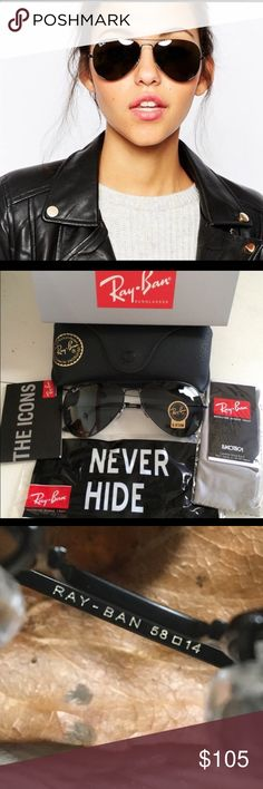 💯% Ray Ban Aviator Sunglasses BLACK on BLACK CLASSY !! 💯% Ray Ban Aviator Sunglasses  BRAND NEW !! Made in Italy  Size : 58mm standard size   What you will receive :   RAY BAN SUNGLASSES  RAY BAN CLEANING CLOTH  RAY BAN ICON MANUAL  RAY BAN BOX RAY BAN BLACK LEATHER CASE   BUY WITH CONFIDENCE FROM A TRUSTED POSHMARK AMBASSADOR RIGHT HERE !! 😎❤️👍🏼😊 Ray-Ban Accessories Sunglasses