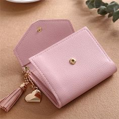 Valink New Women Simple Short Wallet Tassel Coin Purse Card Holders Multi-Card Position Leather Purses, Leather Wallet, Leather Bags, Cute Purses, Michael Kors Wallet, Mini Purse, Brown Bags, Candy Colors, Purse Wallet
