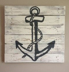 "Anchor 20""X20"" Rustic Art,Beach house,wood pallet art,wood planks,nautical decor,kids baby bedroom,sail boat theme,children,summer home"