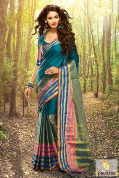 Multi color pure cotton casual wear saree online shopping and discount price range. Purchase this printed designe saree cmes with matching blouse material. #saree, #casualsaree more: http://www.pavitraa.in/store/cotton-sarees/