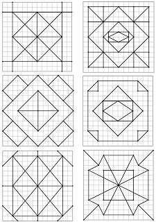 Quilt Square Patterns, Barn Quilt Patterns, Square Quilt, Geometric Quilt, Geometric Art, Geometric Designs, Graph Paper Drawings, Graph Paper Art, Barn Quilt Designs