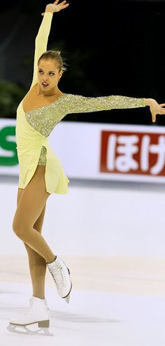 Caroline Kostner - Yellow Figure Skating / Ice Skating dress inspiration for Sk8 Gr8 Designs