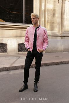 Men's Street Style | Paris Men's Fashion Week | Zip Up - We love the simplicity of this style. If pink isn't your thing, then you can look just as cool in The Idle Man's grey number. | Shop the look now at The Idle Man