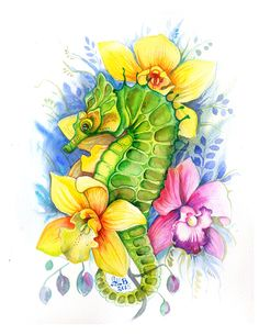 Series of colorful watercolor illustrations featuring various flowers and sea creatures.Watercolors and ink on Arches cold pressed paper.
