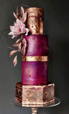 beautiful cake | purple | gold leafed
