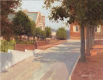 Jeremy Sams - Plein air painting of Bank Street, Old Salem, NC