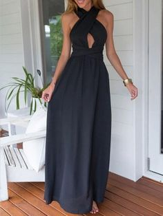 Black Cut Out Front Cross Tie Waist Maxi Dress | Choies