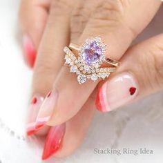 Purple Wedding Rings, Amethyst Wedding Rings, Purple Rings, Amethyst Jewelry, Wedding Rings For Women, Diamond Wedding Bands, Solitaire Diamond, Vintage Inspired Engagement Rings, Dream Engagement Rings