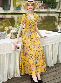 V-neck Short Sleeve Print Maxi Dress Chiffon Maxi Dress, Maxi Dress With Sleeves, Dress Skirt, Maxi Dresses, Work Dresses For Women, Clothes For Women, Casual Dresses, Fashion Dresses, Spring Dresses