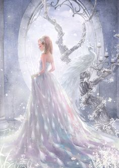Anime princess short blonde hair and in white