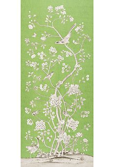 Chinois Palais in Lettuce by @Mary McDonald from @Schumacher — Fabric Wallcovering Trimming Furnishing #fabric #linen #chinoiserie #birds #floral #green