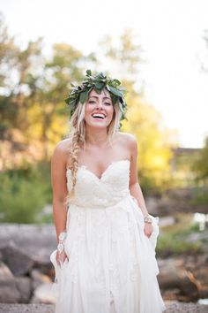 Floral crown and classic fishtail: http://www.stylemepretty.com/2015/04/12/20-bridal-fishtail-braids-we-love/