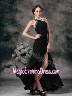 Floor-length Beaded One Shoulder Slit Chiffon Black Evening Dresses