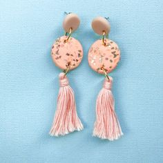 Pink Tassel Polymer Clay Earrings