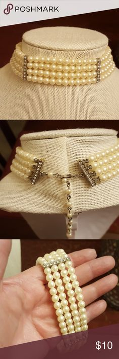 "PEARL CHOKER 12 1/2"" choker with 3""extender.  Faux pearl choker with 4 strands of pearls, and clear little rhinestones to accent them.   The pearls are perfect and so are the secure rhinestones.  Perfect working clasp. Jewelry Necklaces"