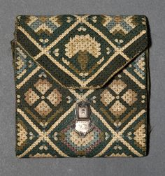"""RP - c1775-1825, stunning queen stitch work, stitched for the owner, measures 4.25"""" x 3.75"""" when folded closed"""
